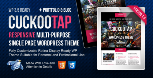 CuckooTap - Single Page WordPress Theme