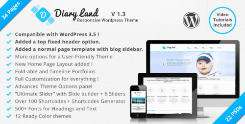 DiaryLand - Corporate Responsive Theme