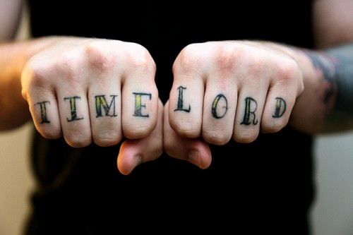 Gallifreyan Knuckle Tattoos