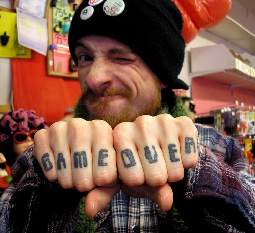 Game Over Knuckle Tattoo