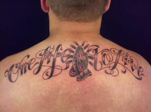 Lettering Praying Hands Tattoos