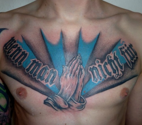 Praying Hands Chest Tattoos
