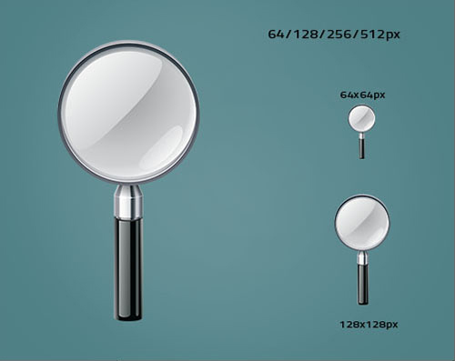 Magnifying Glass Vector and PSD Icon