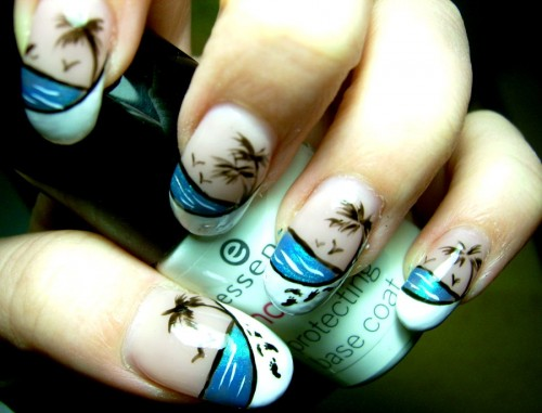 White Beach Nail Design