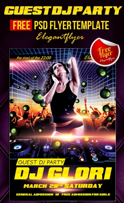 Guest Dj Party - Free Club and Party Flyer
