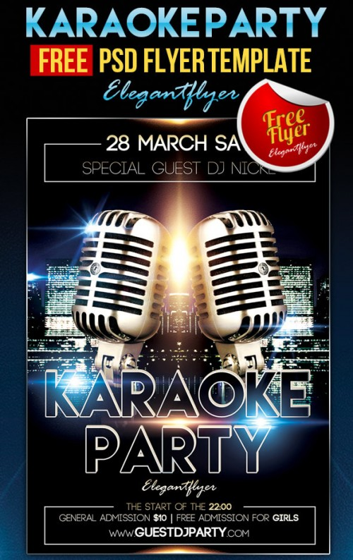 Karaoke Party - Free Flyer PSD Template