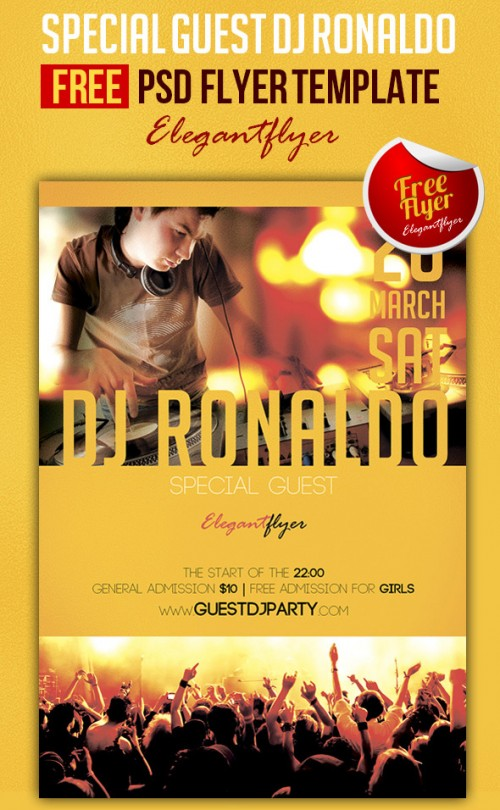 Special Guest DJ Ronaldo – Club and Party Free Flyer PSD Template
