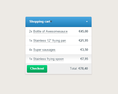 CSS Shopping Cart Checkout Basket Details